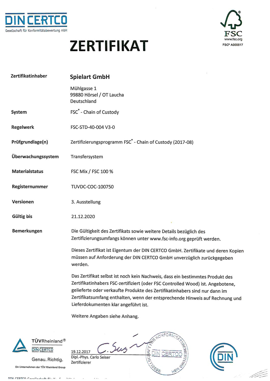 Die Spielart GmbH ist FSC® – Chain of Custody zertifiziert