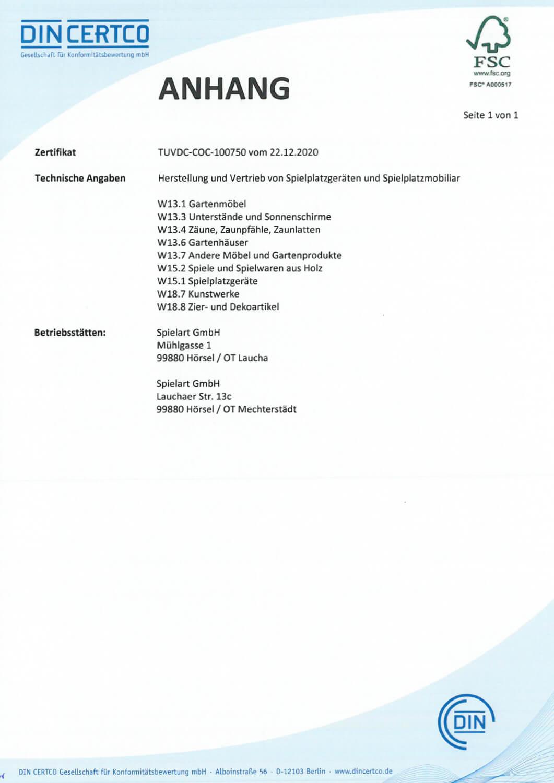 Die Spielart GmbH ist seit 2015 FSC® - Chain of Custody zertifiziert (FSC-C128278).