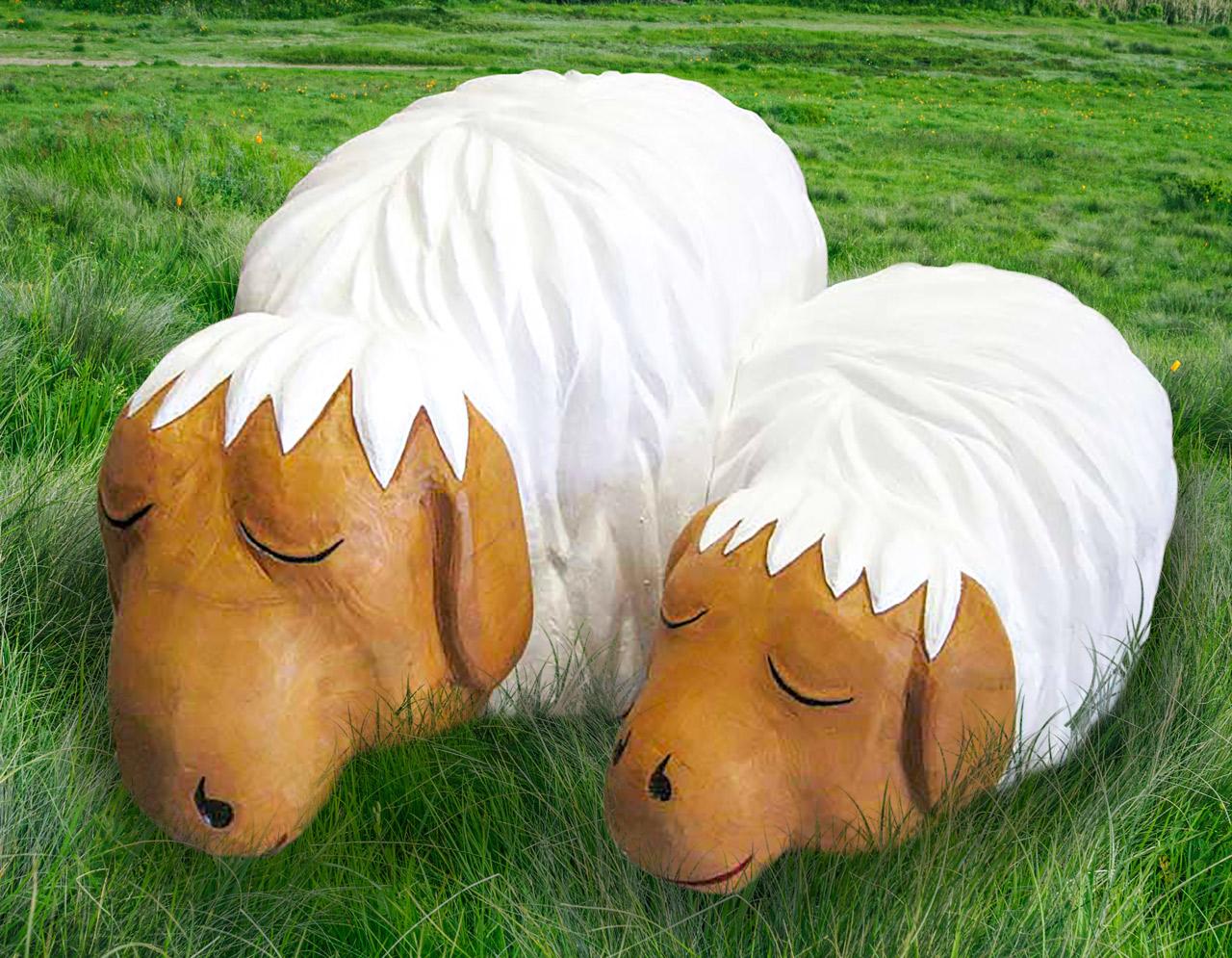 N 122 Skulptur schlafende Schafe | Mittagsschäfchen