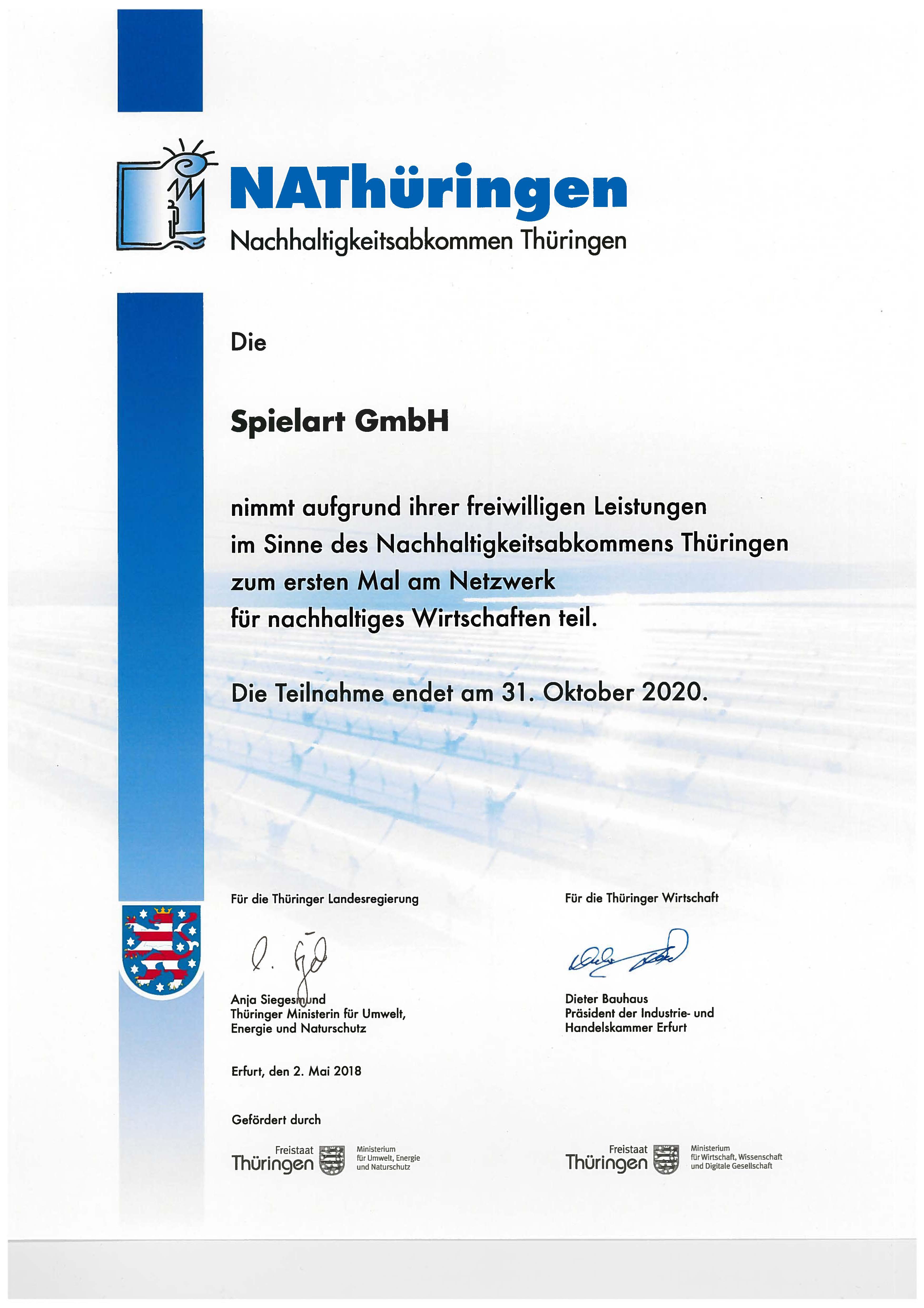 Nachhaltigkeit/CSR - Zertifikat Nachhaltigkeitsabkommen Thüringen