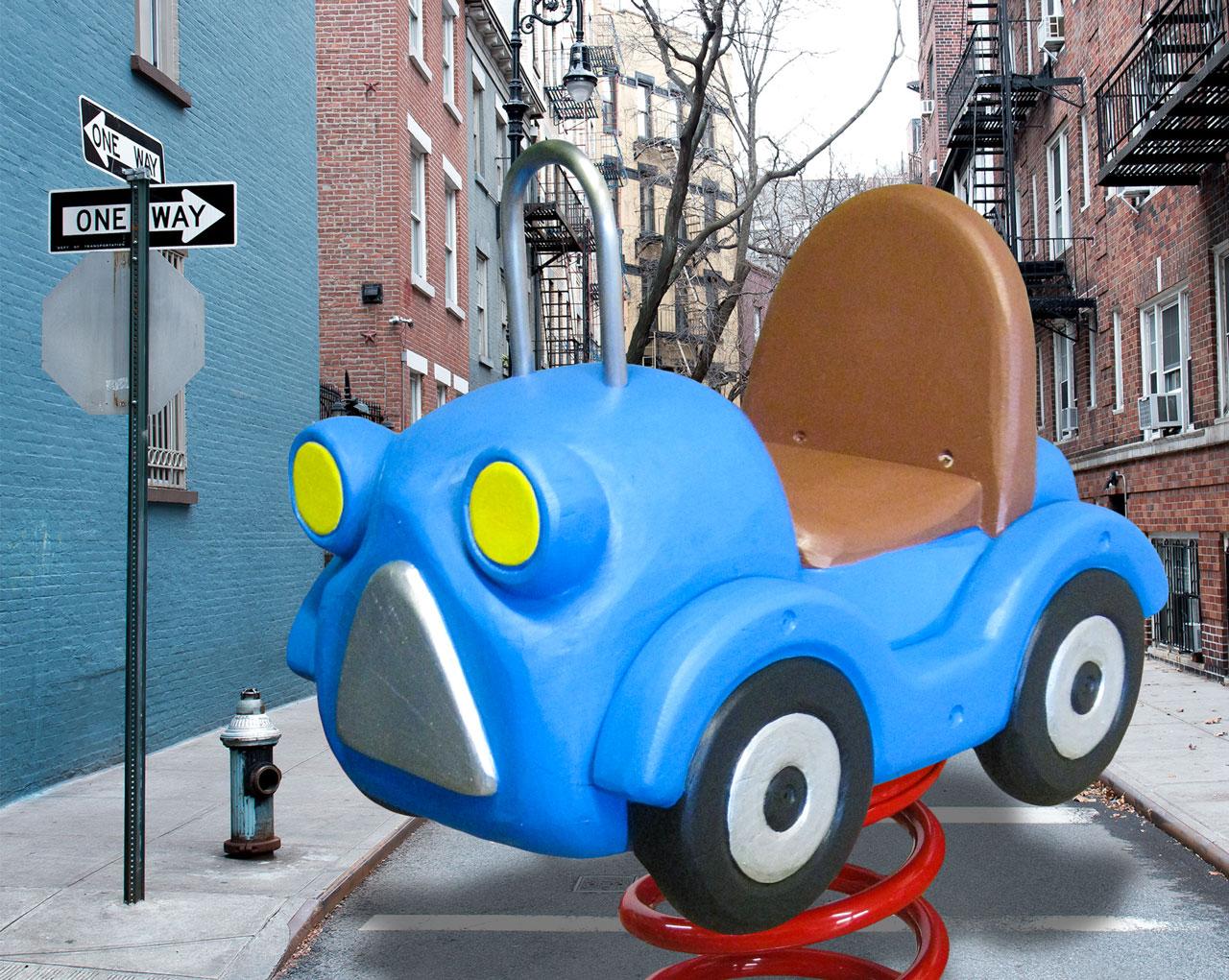 P 106 Federwipper Blaues Auto | Wackelauto