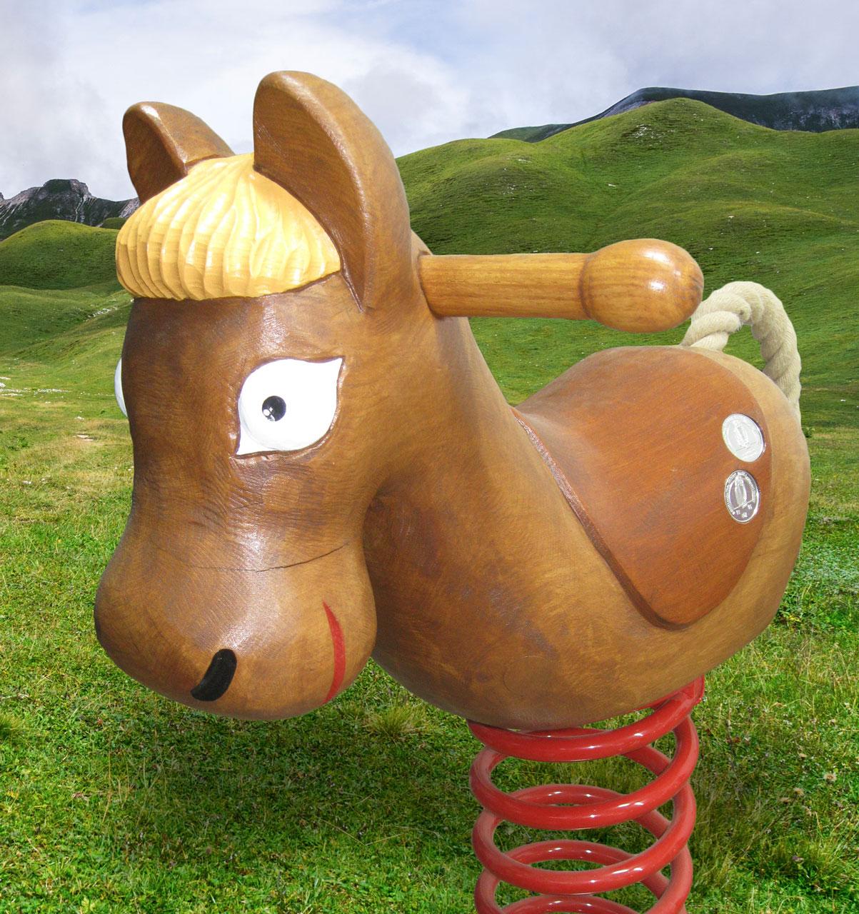 P 5-4 Federwipper Pferd Pferdchen | Wackelpferd