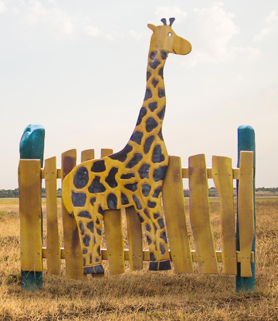 R 12 Spielzaun, Motivzaun mit Giraffe, Zaun für Spielplatz