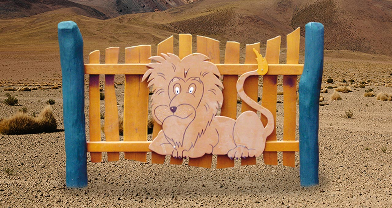R 12 Spielzaun, Motivzaun mit Löwe